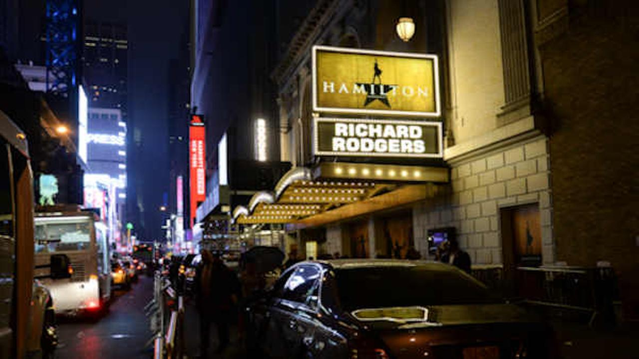 The Hamilton marquee at the Richard Rogers Theatre. (Photo by Evan Agostini/Invision/AP)
