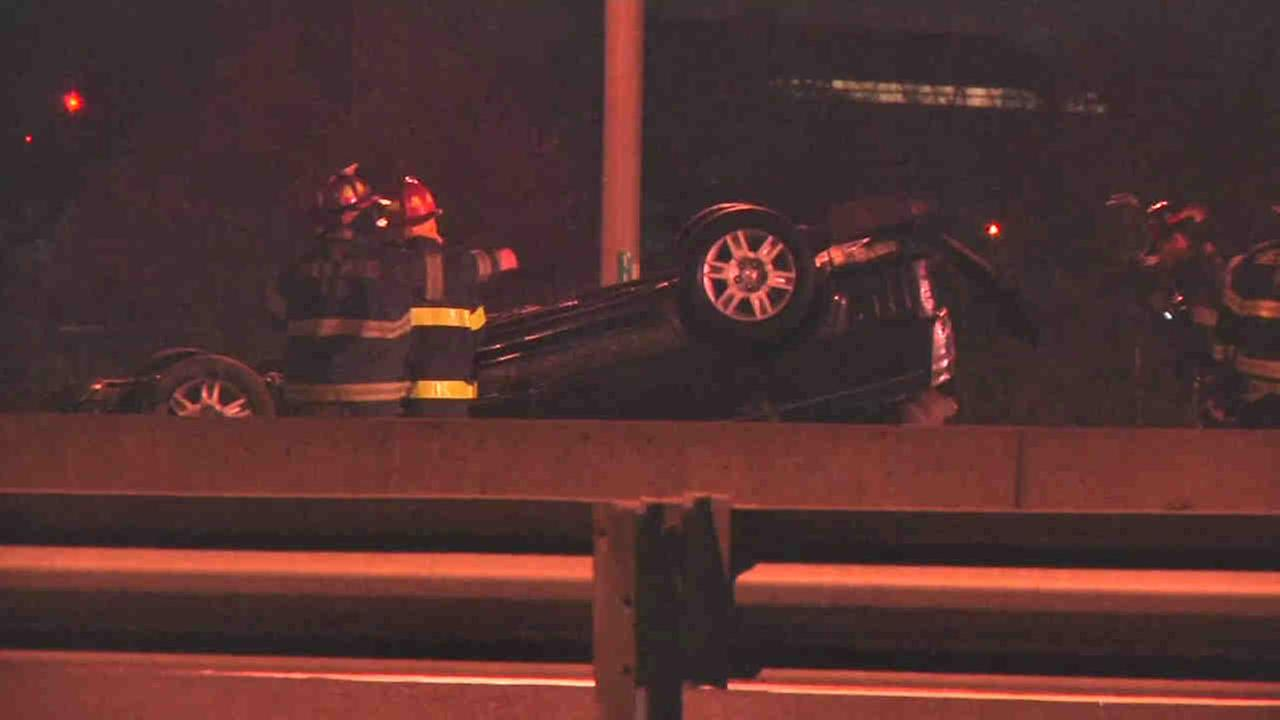 Five people were hurt in Brentoowd after a car wreck on the Long Island Expressway.
