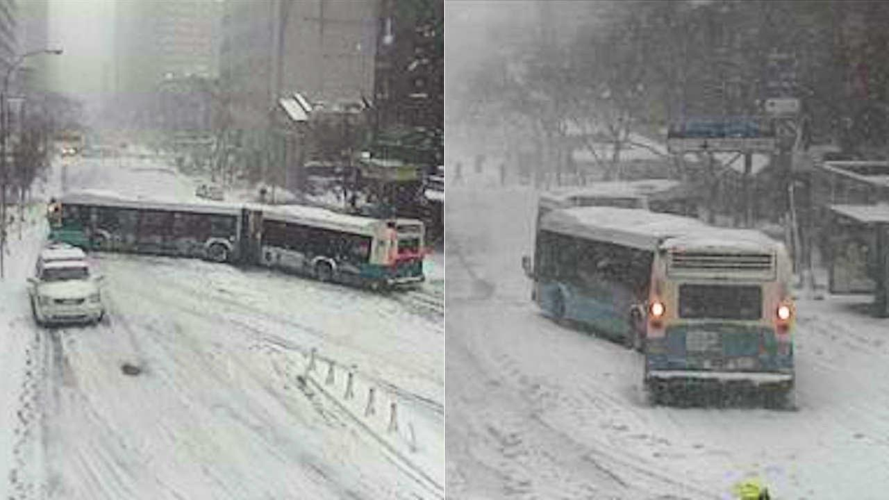 Buses spin out, get stuck across New York City