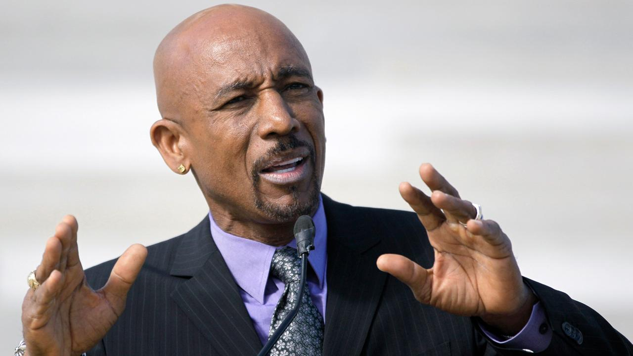 Television personality Montell Williams speaks to supporters of a ballot measure that would legalize medical marijuana in the state at the Arkansas state Capitol in Arkansas.