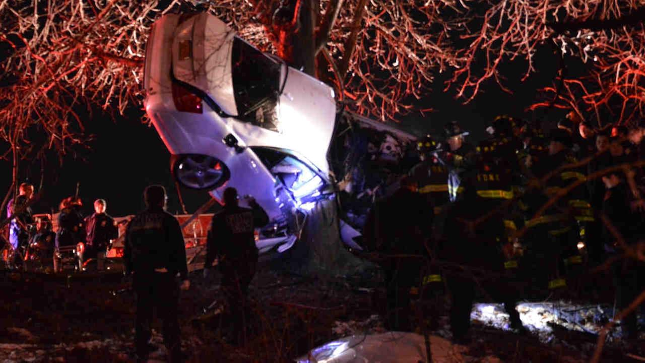Two people are dead in the Bronx after a car crashed through a guardrail on the Bronx River Parkway.
