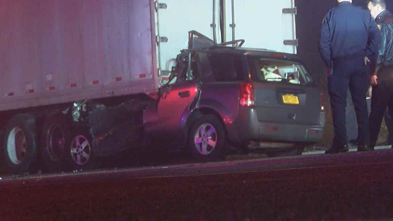 A driver was killed after an SUV crashed into the back of a parked tractor-trailer on Long Island overnight Wednesday.