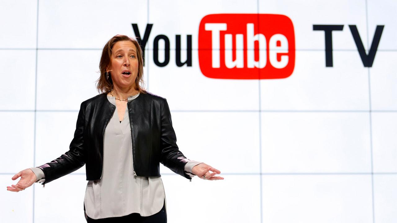 YouTube CEO Susan Wojicki speaks during the introduction of YouTube TV at YouTube Space LA in Los Angeles, Tuesday, Feb. 28, 2017.