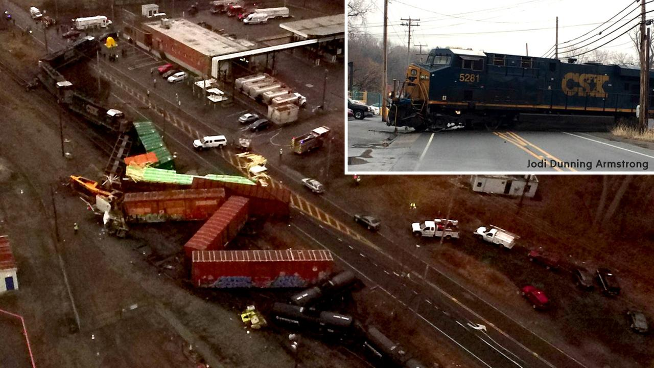 Csx Freight Train Derails Ends Up Across Roadway In New