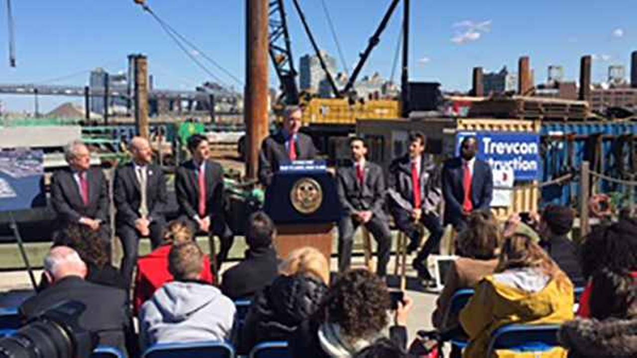 New York Mayor Bill de Blasio announces new ferry service at the Brooklyn Navy Yard.
