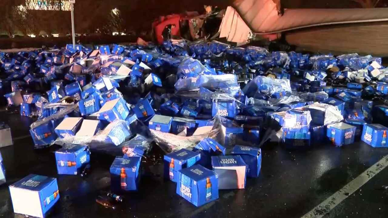 Beer was dumped on a road Wednesday morning in Melville.