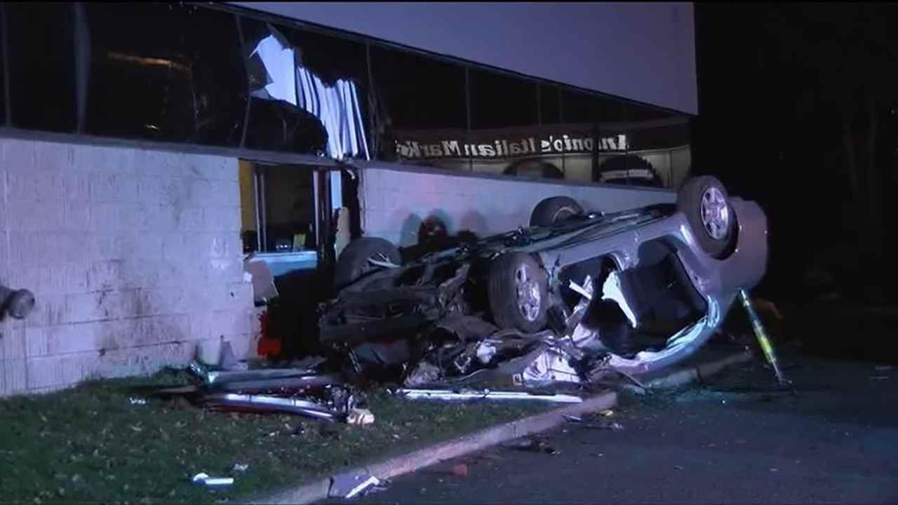 Two people were injured when a car crashed in Springfield, N.J., Wednesday night.