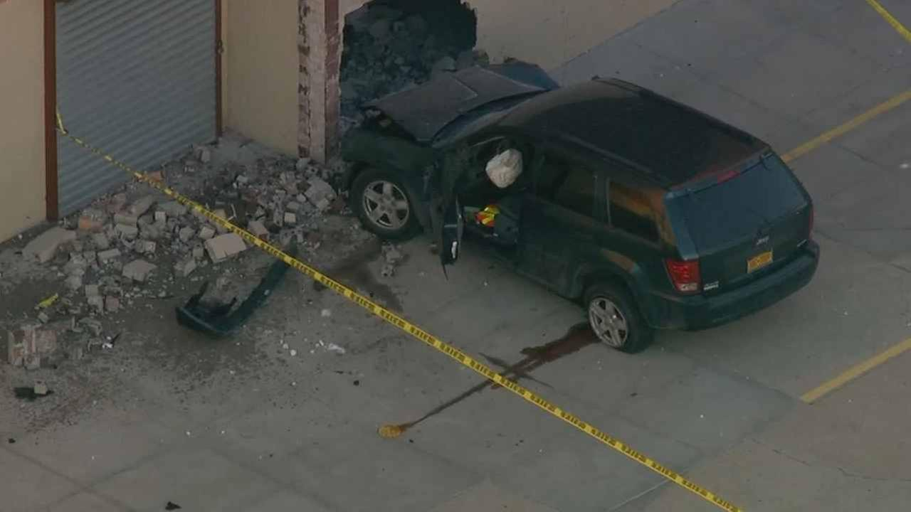 A car crashed into a school in East New York Thursday morning.