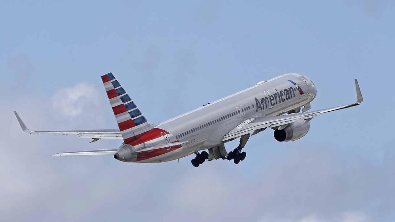 This file photo shows an American Airlines passenger jet taking off in Miami.