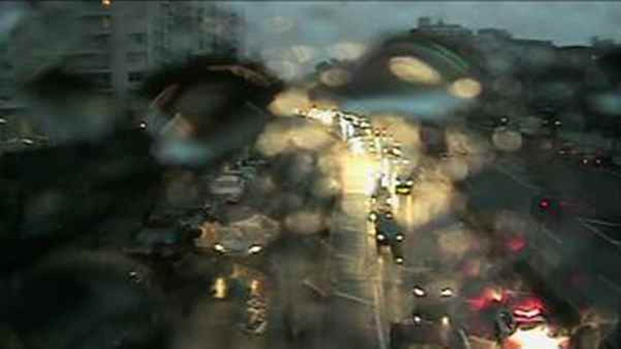 A highway camera captures flooding on the Henry Hudson Parkway in the Bronx.
