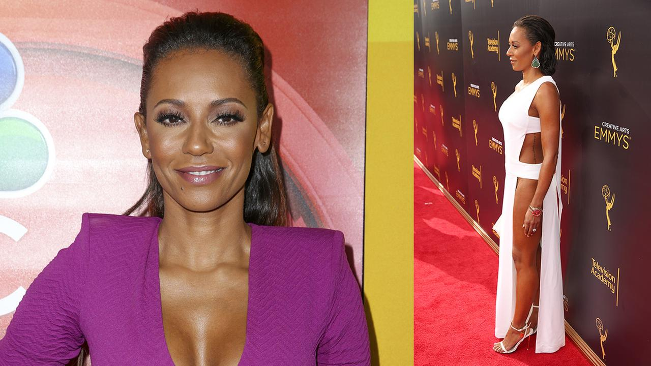 Left: Mel B. arrives at the Television Critics Association press tour on Aug. 2, 2016; Right: Mel B arrives at the 2016 Creative Arts Emmy Awards on Sept. 10, 2016