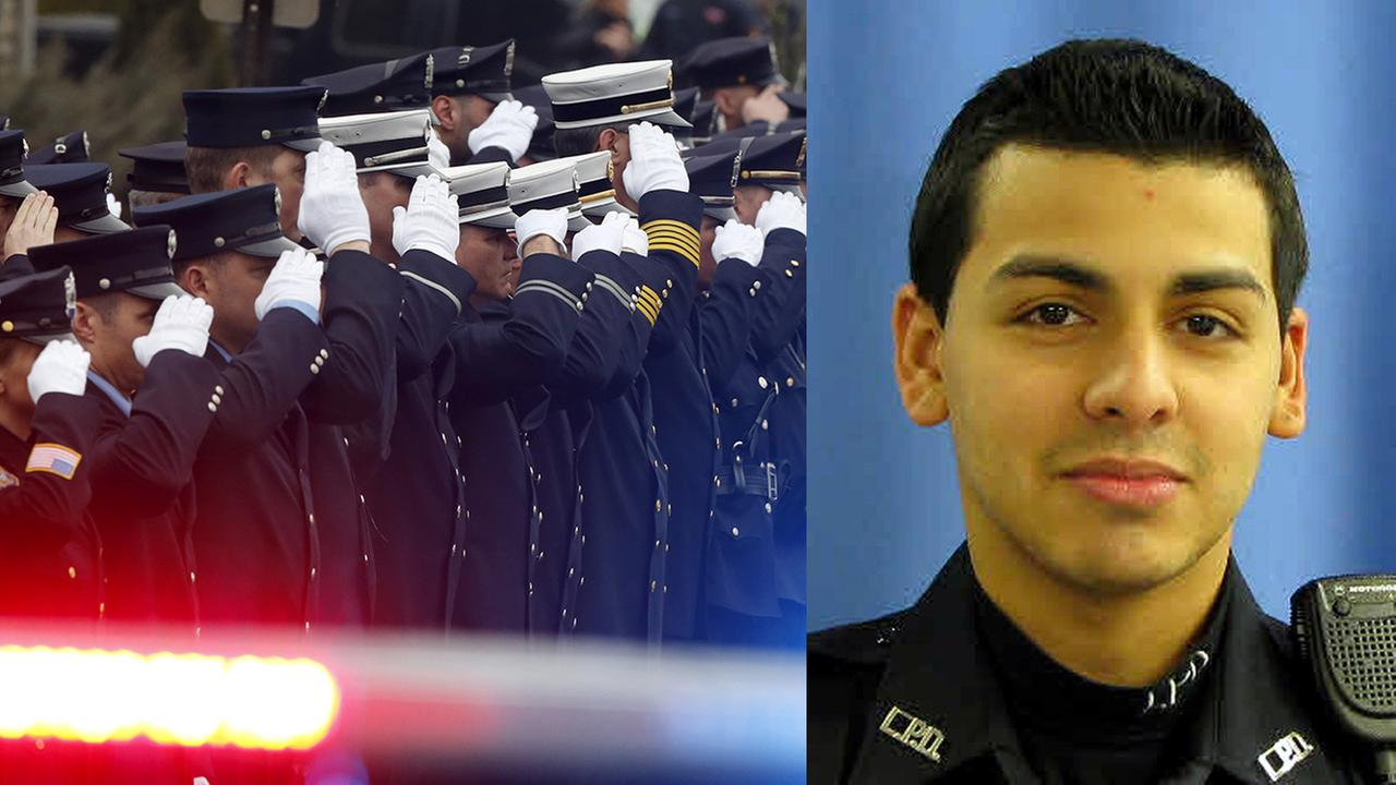 Left: Officials salute outside of Linden Presbyterian Church before funeral services for Linden Officer Frank Viggiano, Thursday, March 26, 2015; Right: Police Officer Pedro Abad
