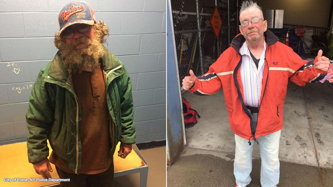 Police in upstate New York step up to give homeless man makeover