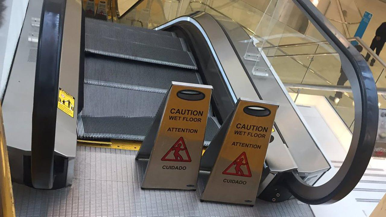 An escalator malfunctioned at the World Trade Center.