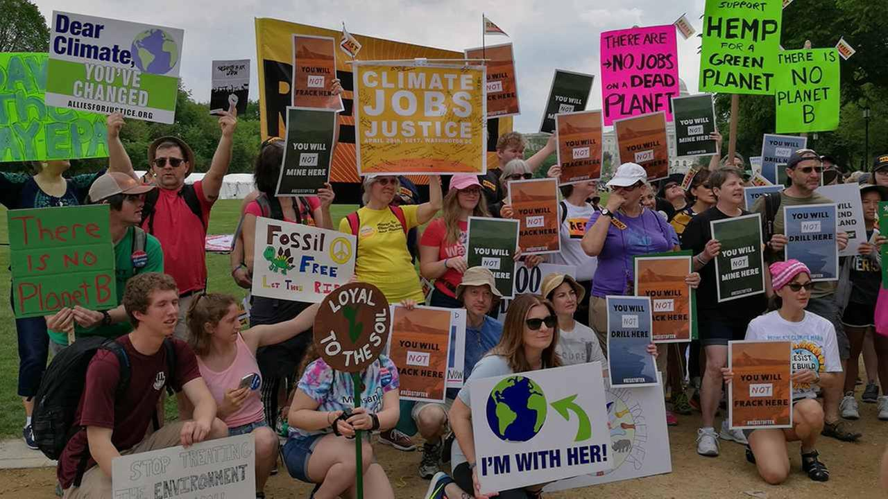 Marchers arrive at the Peoples Climate March in D.C.