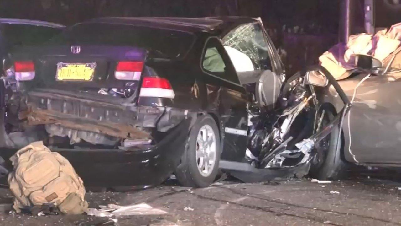 A woman was badly hurt after a wrong-way wreck on the Hutchinson River Parkway.