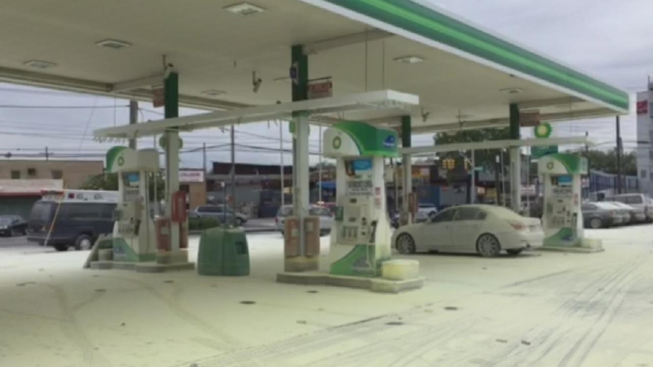 Fire extinguisher malfunctions, covers Brooklyn gas station in dry chemicals