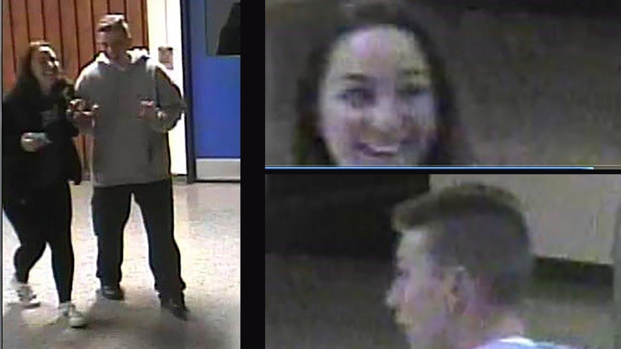 A man and a woman are wanted for breaking into East Northport High School.