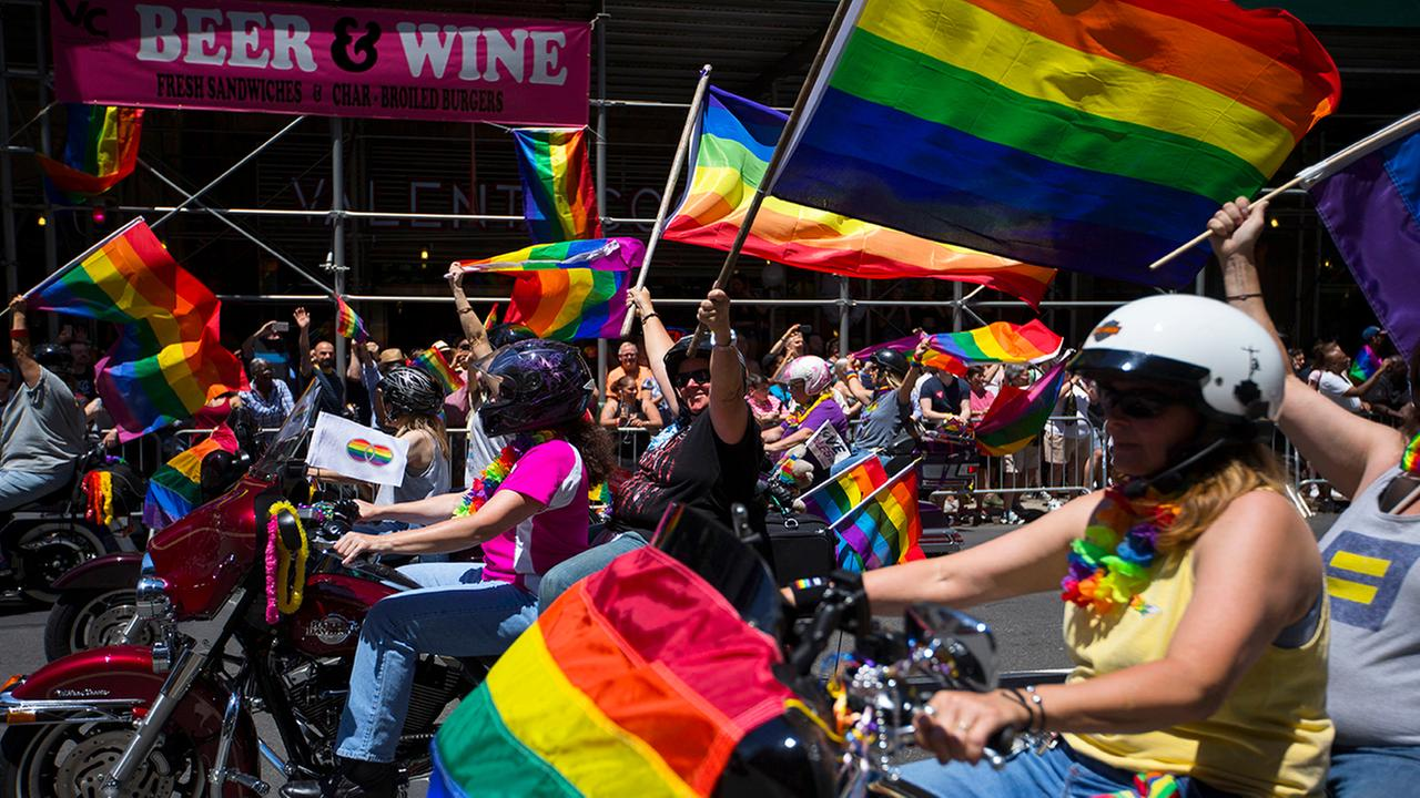 Member of the Siren Motorcycle club participate in the New York City Pride Parade on Sunday, June 25, 2017 in New York. (AP Photo/Michael Noble Jr.)