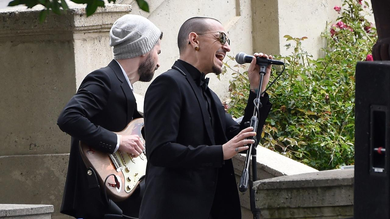 Chester Bennington, of Linkin Park, performs Hallelujah at a funeral for Chris Cornell at the Hollywood Forever Cemetery on Friday, May 26, 2017, in Los Angeles