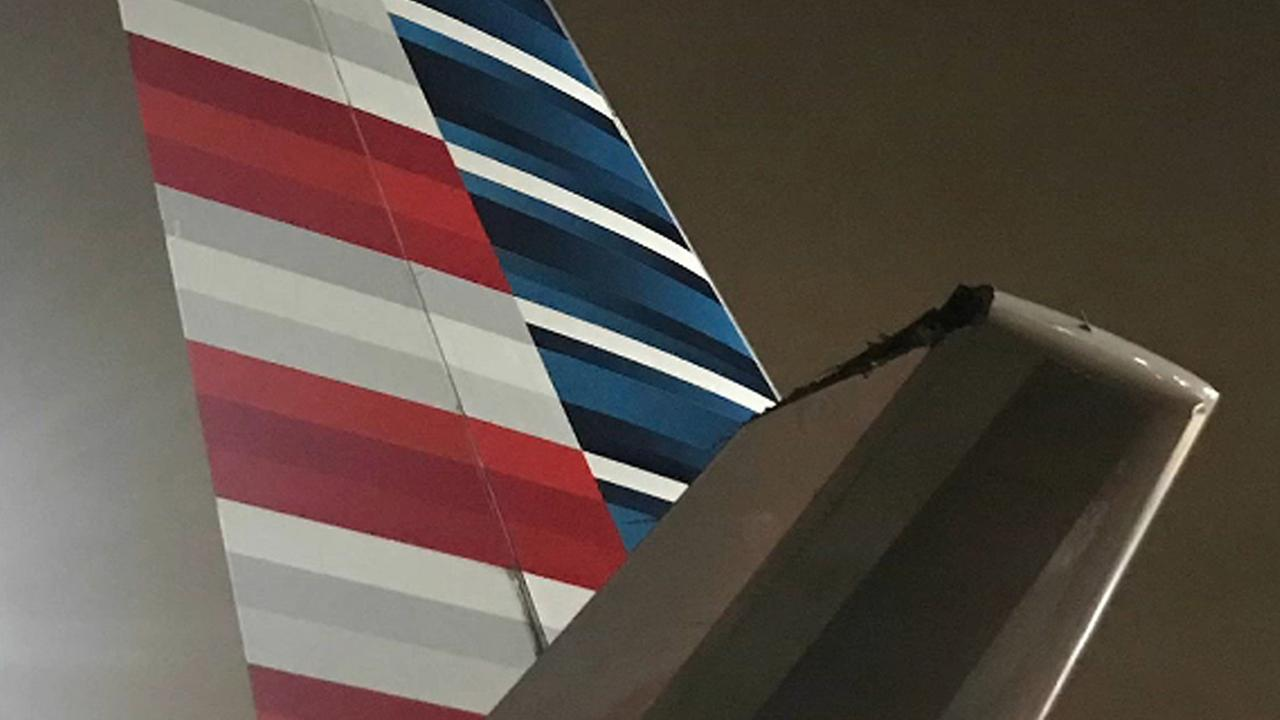 Tip of Delta plane clips American plane at JFK Airport