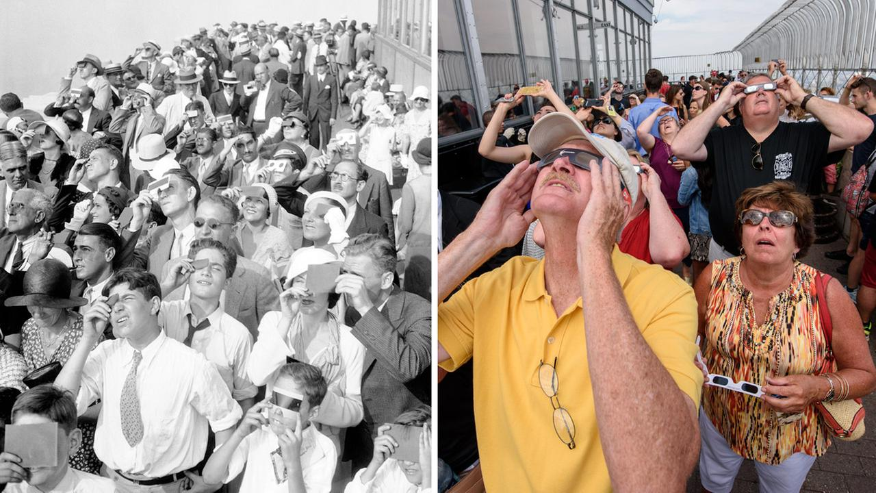 On the left, eclipse watchers view a partial eclipse of the sun on Aug. 31, 1932. On the right, spectators view a total eclipse from the same location on Aug. 21, 2017.