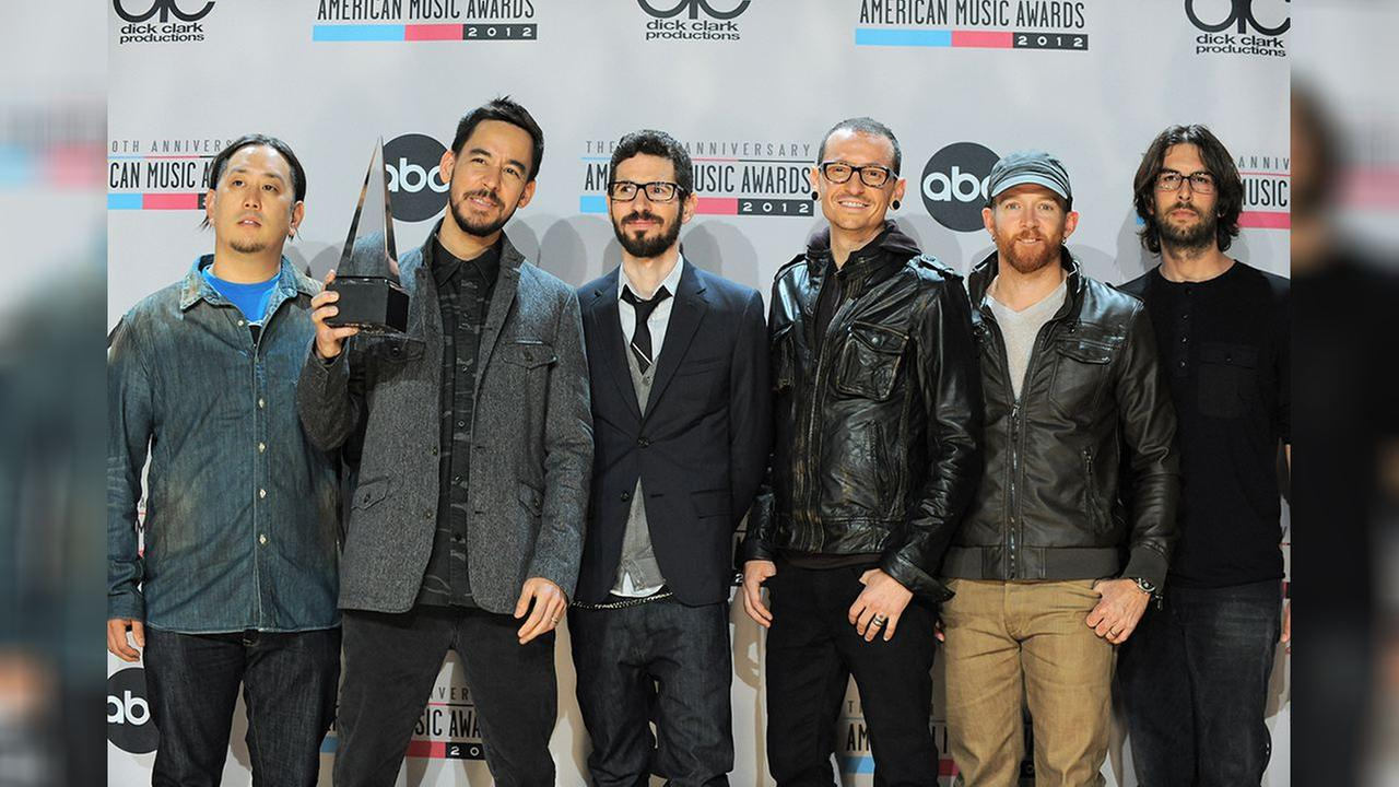 Linkin Park (From left, Joe Hahn, Mike Shinoda, Brad Delson, Chester Bennington, Dave Farrell and Rob Bourdon)