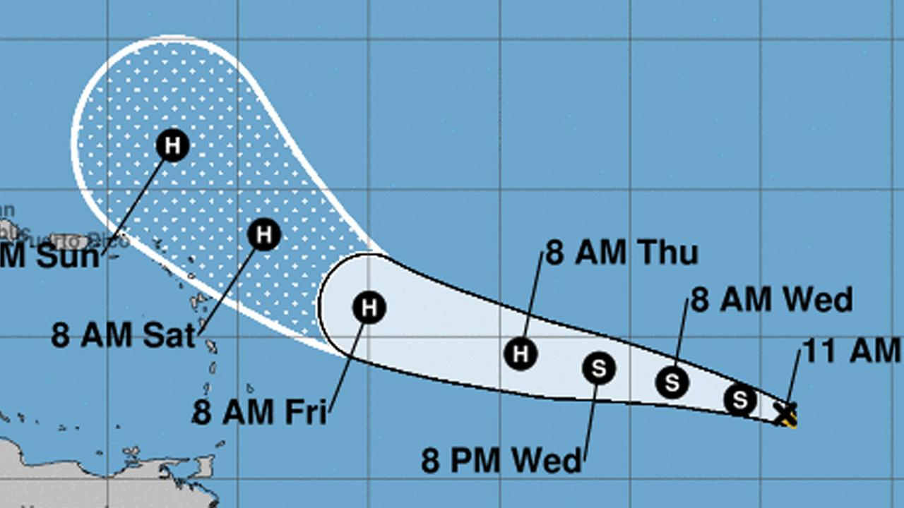 Tropical Storm Jose forms to the east of Hurricane Irma in the Atlantic