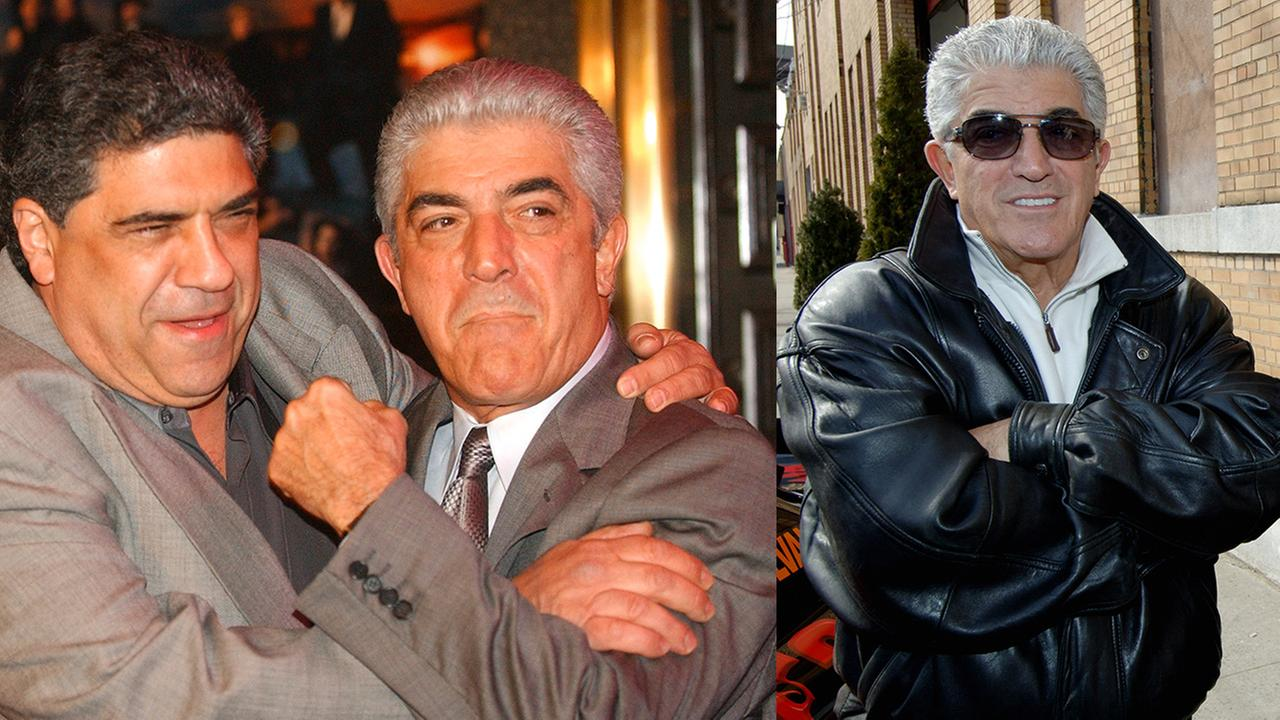 Left - Actors Vincent Pastore and Frank Vincent at The Sopranos premiere in 2004; Right - Frank Vincent at a news conference in Queens in 2006