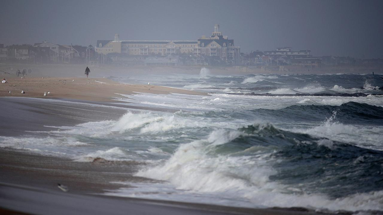 Waves crash Sept. 14 in Manasquan, N.J., where swells were up from recent hurricanes in the Atlantic, including Hurricane Jose.  (AP Photo/Julio Cortez)