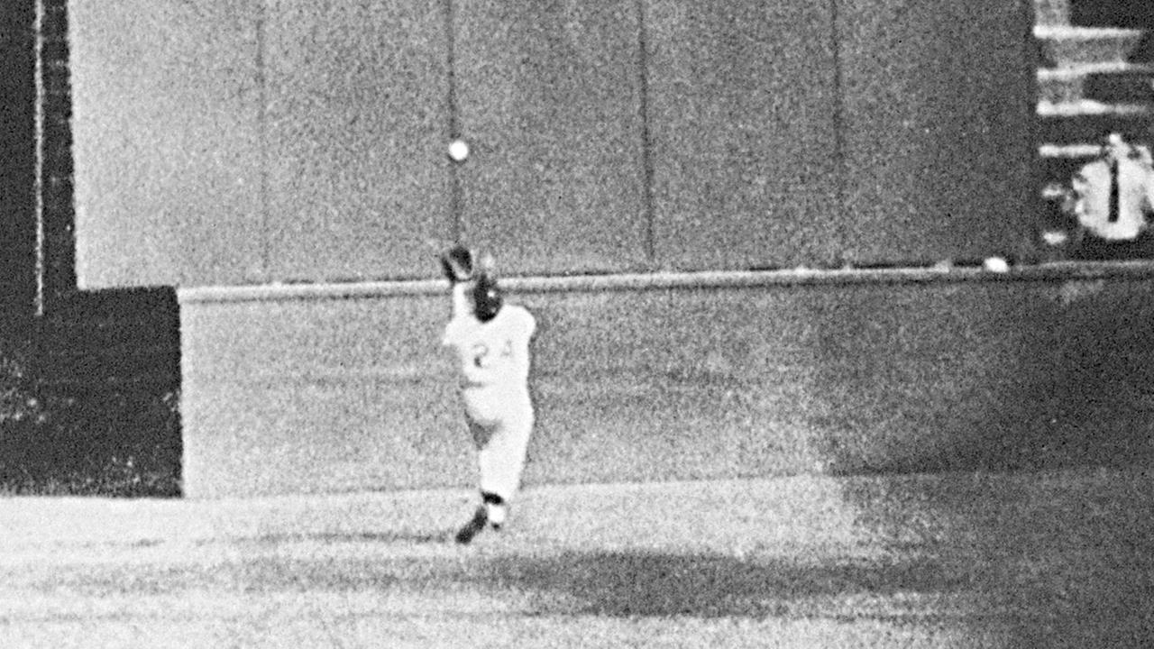 Giants center fielder Willie Mays gets under a 450-foot blast off the bat of Indians 1B Vic Wertz on Sept. 29, 1954 in Game 1 of the World Series at the Polo Grounds.