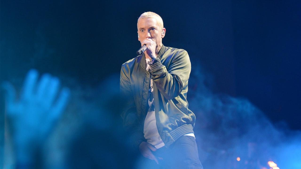 Eminem performs on stage at the MTV Movie Awards, on Sunday, April 13, 2014, in Los Angeles.