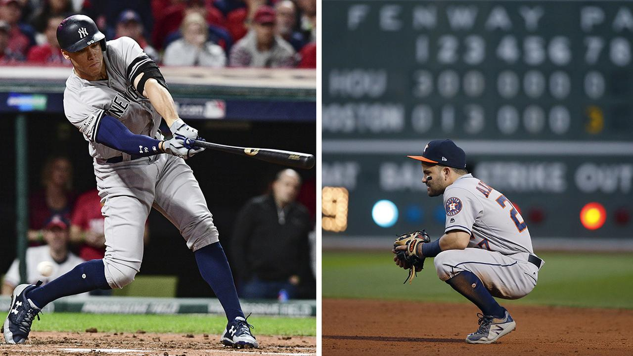 Left - Aaron Judge strikes out swinging against Cleveland Indians starting pitcher Corey Kluber; Right - Jose Altuve pauses during the seventh inning of Game 3 against the Red Sox