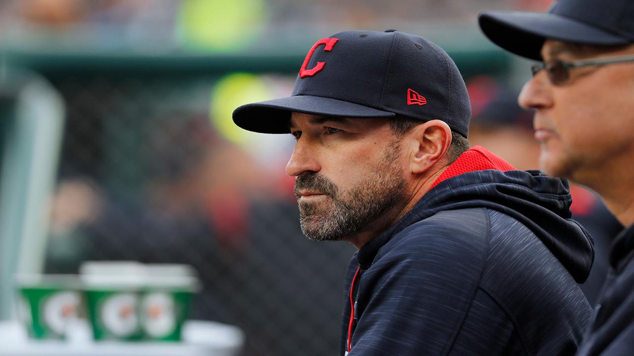 Cleveland Indians pitching coach Mickey Callaway watches with manager Terry Francona against the Detroit Tigers in the first inning of a baseball game in Detroit.