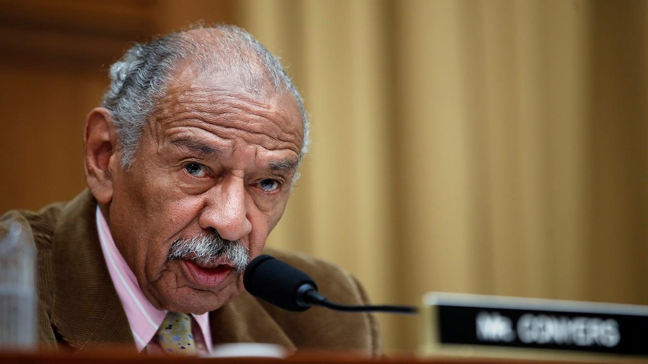 Rep. John Conyers, D-Mich., at a hearing of the House Judiciary subcommittee on Crime, Terrorism, Homeland Security, and Investigations, April 4, 2017. (AP Photo/Alex Brandon)