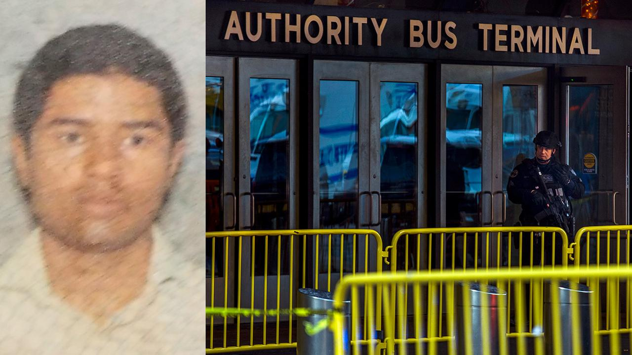 Left - Suspect Akayed Ullah; Right - A police officer stands guard in front of Port Authority Bus Terminal