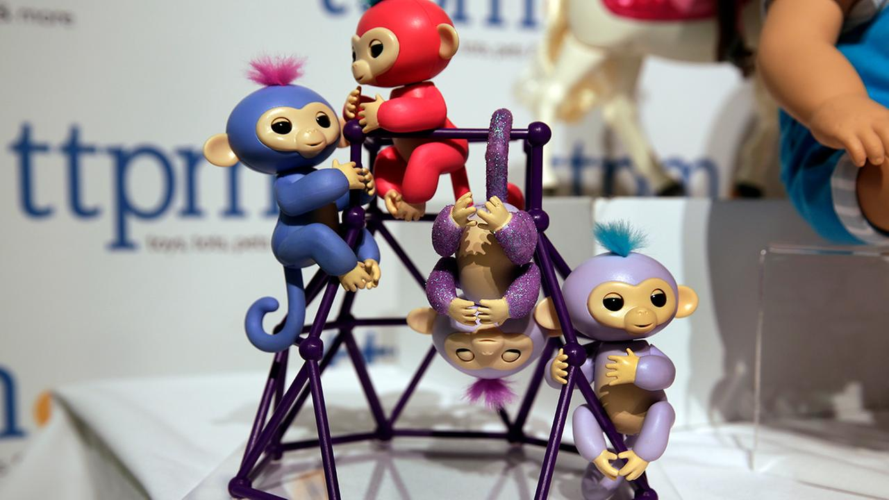 This Tuesday, Sept. 26, 2017, photo shows Fingerlings from WowWee on display at the 2017 TTPM Holiday Showcase in New York.