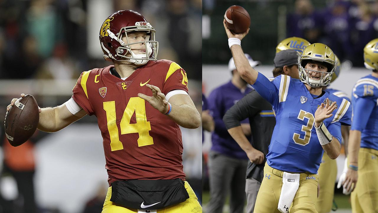 Left - Southern California quarterback Sam Darnold; Right - UCLA quarterback Josh Rosen