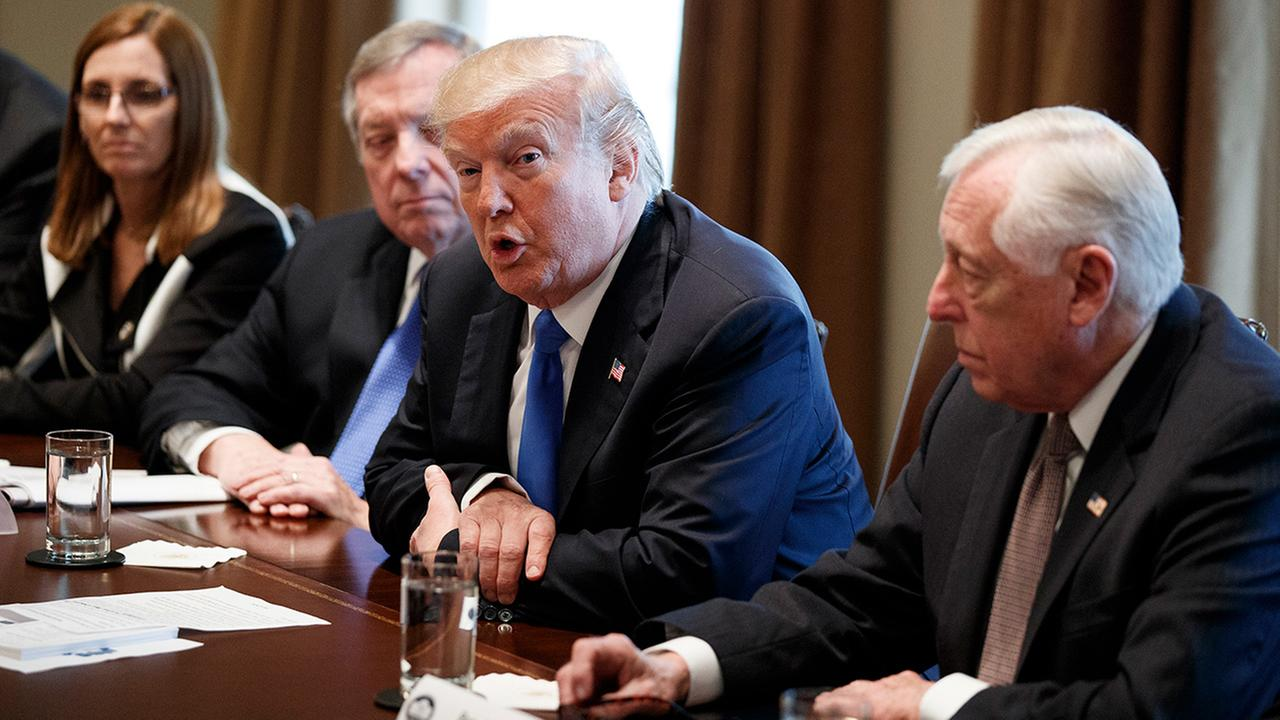 President Donald Trump speaks during a meeting with lawmakers on immigration policy in the Cabinet Room of the White House, Tuesday, Jan. 9, 2018, in Washington.