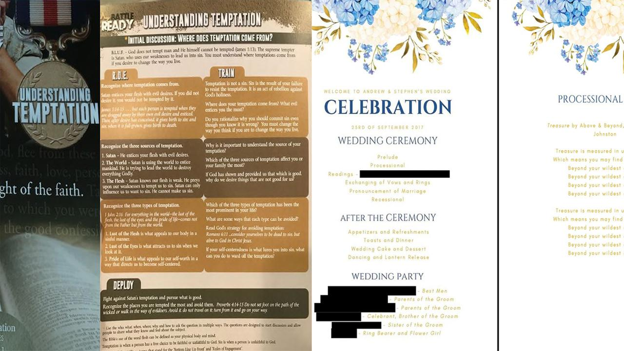 Lawsuit: Gay couple got 'hateful' flyers, not wedding programs
