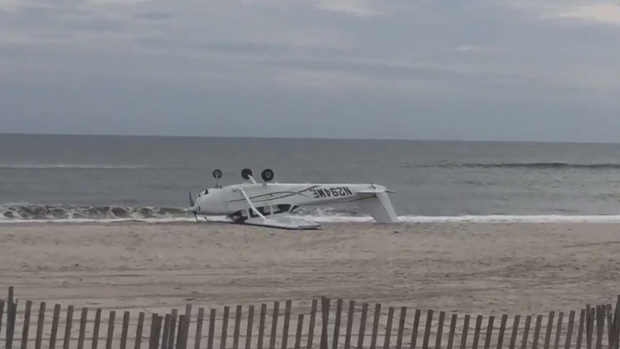 Small plane makes emergency landing on Long Island with 2 teen flight students on board, flips over