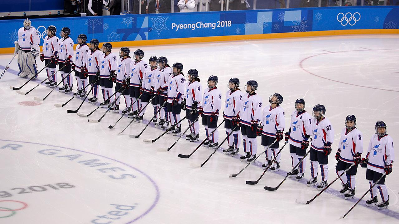 Players from the combined Koreas line up before the womens hockey game against Switzerland at the 2018 Winter Olympics in Gangneung, South Korea. (AP Photo/Jae C. Hong)
