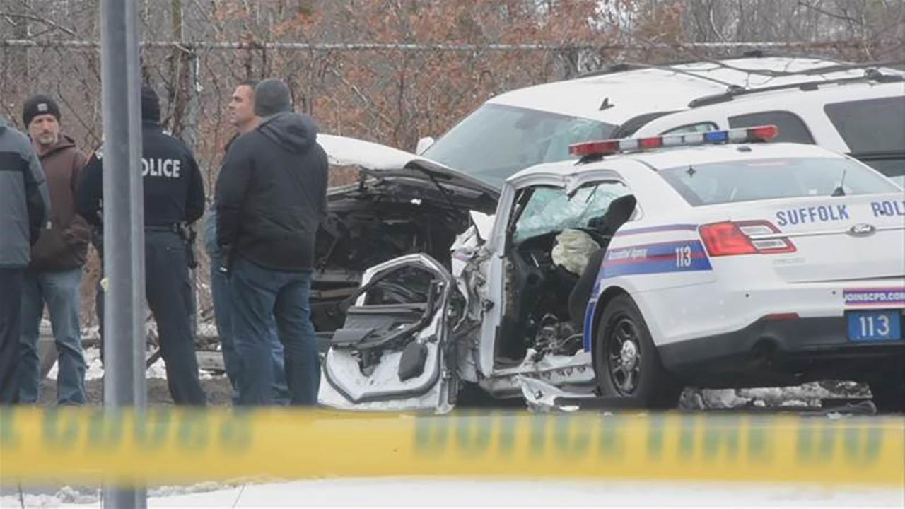 Man charged with crashing stolen vehicle into police car in West Babylon, seriously injuring officer