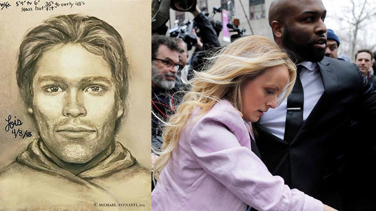 Left: Sketch of man who Stormy Daniels says threatened her; Right: Stormy Daniels arrives at federal court in New York, Monday, April 16, 2018