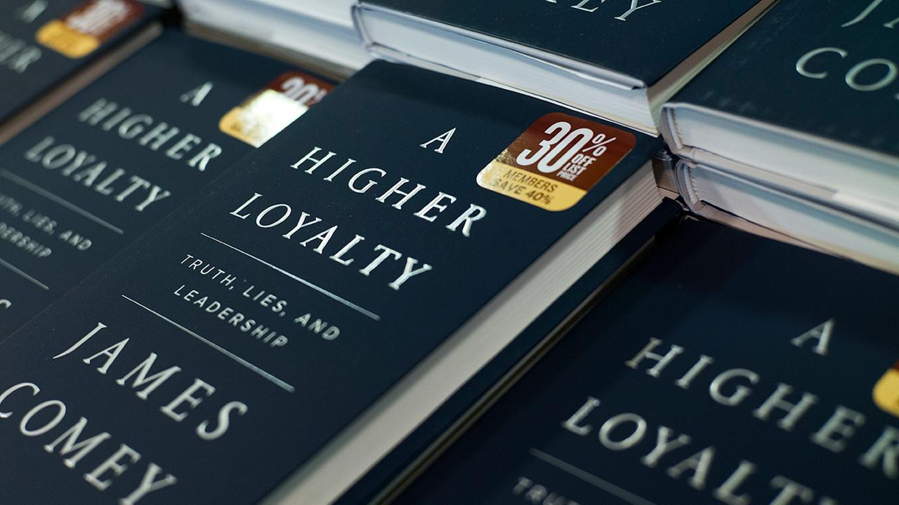 The book, A Higher Loyalty by former FBI Director James Comey is displayed, Tuesday, April 17, 2018, at a Barnes and Noble bookstore in New York.