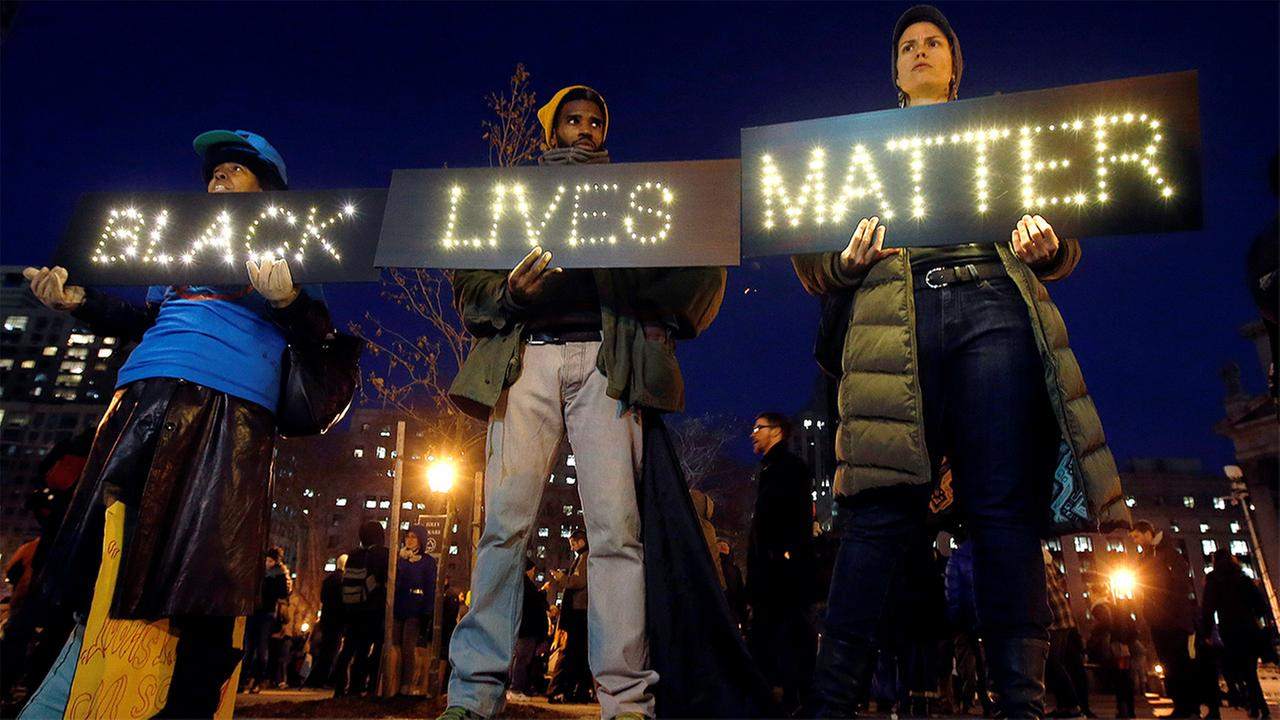 Protesters rallying against a grand jurys decision not to indict the police officer involved in the death of Eric Garner gather in Foley Square, in New York, on Dec. 4, 2014.