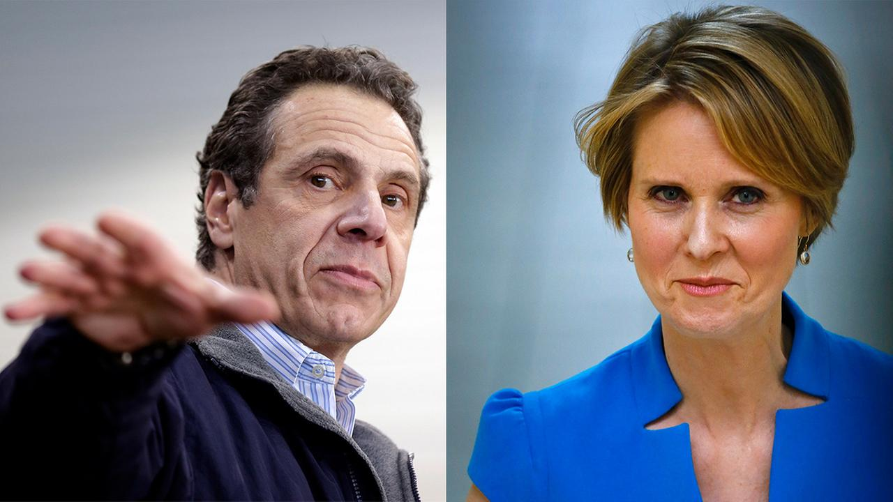 FILE - New York Governor Andrew Cuomo and Democratic challenger Cynthia Nixon