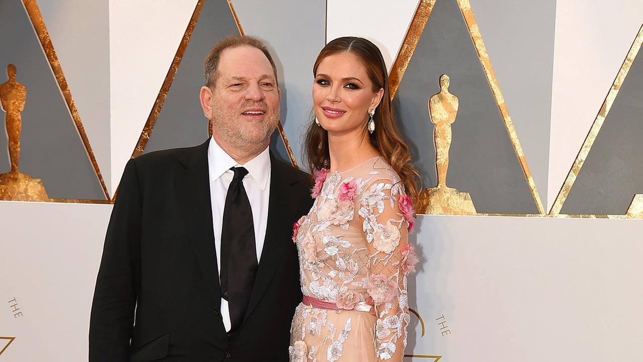 Harvey Weinstein, left, and Georgina Chapman arrive at the Oscars on Sunday, Feb. 28, 2016, at the Dolby Theatre in Los Angeles.