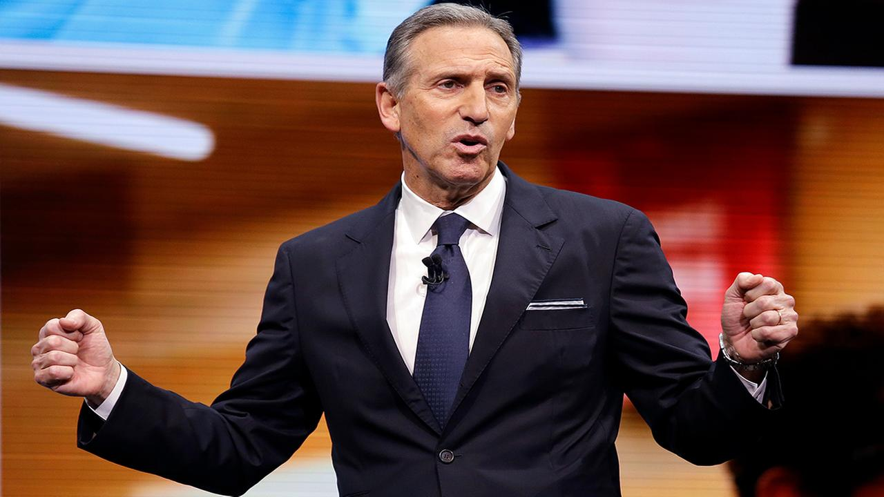 FILE - In this March 22, 2017, file photo, Starbucks CEO Howard Schultz speaks at the Starbucks annual shareholders meeting in Seattle. (AP Photo/Elaine Thompson, File)