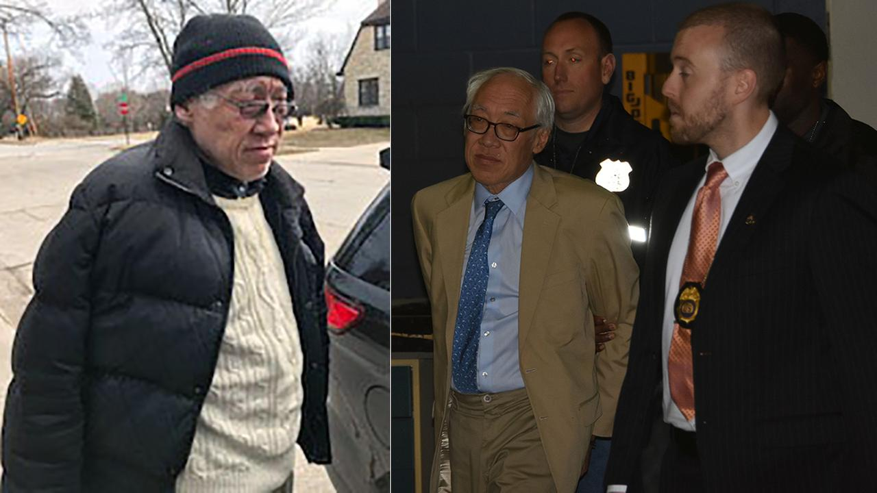 Dr. Choy (left) in Wisconsin, (right) after being extradited back to New York City